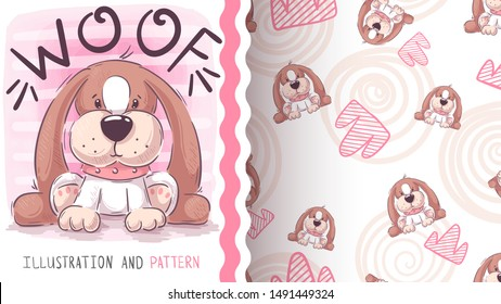 Woof teddy dog - seamless pattern. Hand draw