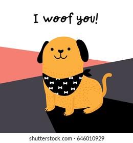 I woof you! - cute dog clip art - vector Flat illustration of a cute dog