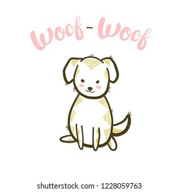 Woof-woof brush calligraphy. Cute little dog. Vector isolated illustration.