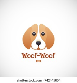 Woof-Woof Vector Sign Emblem or Logo Template. Cute Beagle Dog Face in Flat Style Concept. Good for Pets Care Programs, Stores and Shops. Isolated.