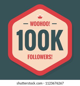 Woohoo 100K Followers Sticker for Social Media Page or Profile Post