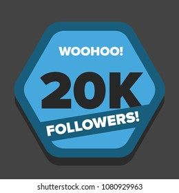 Woohoo 20K Followers Sticker for Social Media Page or Profile Post