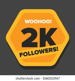 Woohoo 2K Followers Sticker for Social Media Page or Profile Post