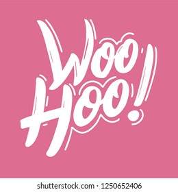 Woohoo phrase hand drawn vector lettering. Isolated on background. EPS 8