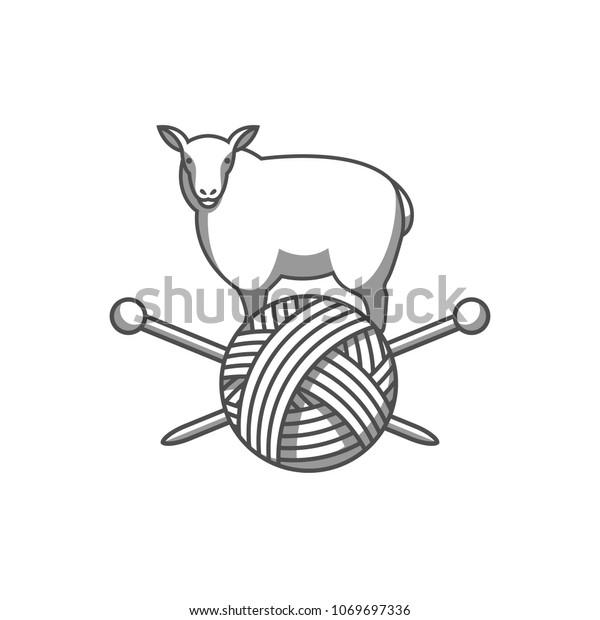 Wool Emblem Sheep Tangle Yarn Knitting Stock Vector Royalty Free 1069697336