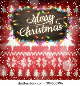Wool fabric with Christmas decoration. EPS 10 vector file included