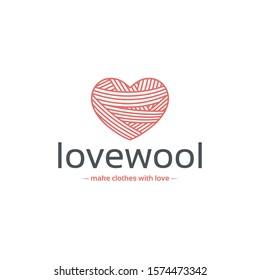 Wool heart vector logo template