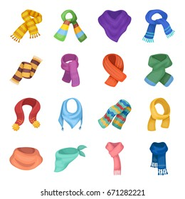 Wool, silk, polyester kinds of material for scarves and shawls.Scarves And Shawls set collection icons in cartoon style vector symbol stock illustration web.