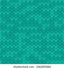Wool turquoise color texture background. Seamless knitted background. Illustration for design, backgrounds, wallpaper. Vector illustration.