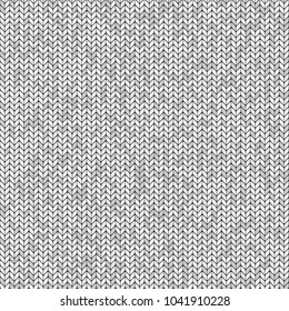 Woolen knitted fabric texture. White and gray seamless vector pattern. Repeated interlaced woven material. Light abstract design for clothes and fashion. Traditional crochet ornament.
