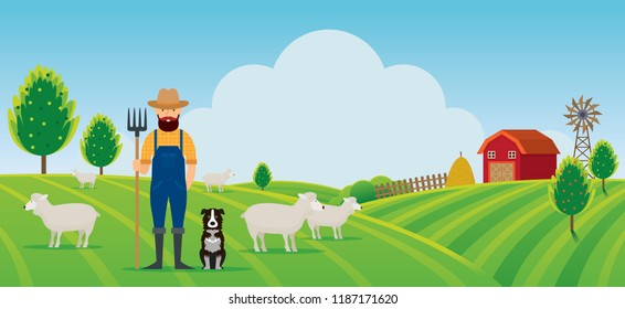 Woolgrower with Dog and Sheep Farm on Hill Landscape Background, Agriculture, Cultivate, Countryside, Field, Rural