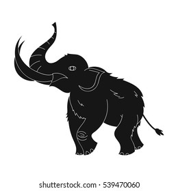 Woolly mammoth icon in black style isolated on white background. Stone age symbol stock vector illustration.