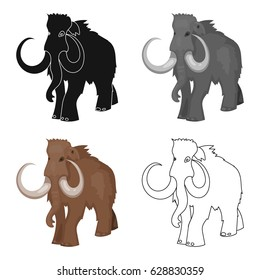 Woolly mammoth icon in cartoon style isolated on white background. Stone age symbol stock vector illustration.