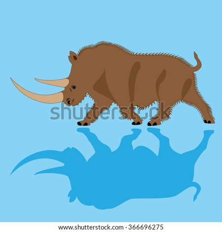 Woolly rhinoceros (Coelodonta antiquitatis), lived during the Ice Age, extinct. Vector illustration.