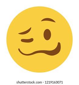 Woozy drunk funny emoji face vector flat design