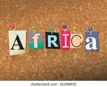 """The word """"AFRICA"""" written in cut letters and pinned to a cork bulletin board illustration. Vector EPS 10 available."""