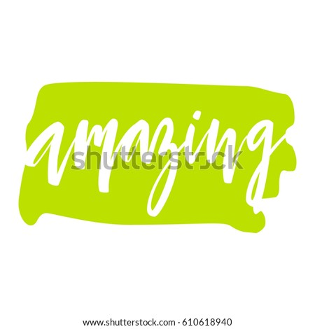 word amazing lettering quote card bright stock vector royalty free