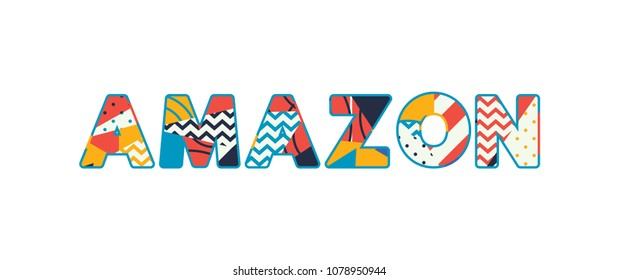The word AMAZON concept written in colorful abstract typography. Vector EPS 10 available.
