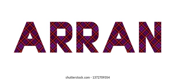 """The word """"Arran"""" composed of letters from the diagonal Arran tartan. Transparent background."""