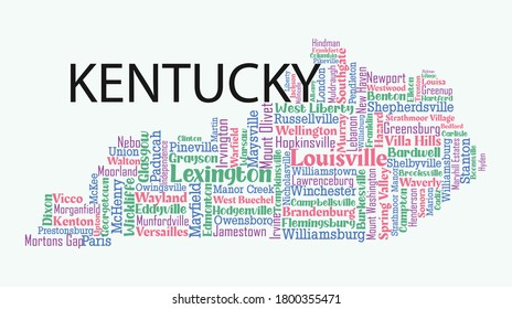 Word art design includes all counties and major cities in the state of Kentucky. Four different font with four different colors. It is an editable vector.