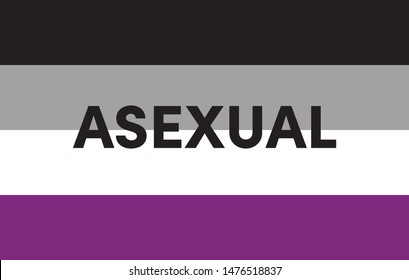 The word Asexual. Vector banner. Asexual pride flag. LGBTQ.  Symbol of Asexual.