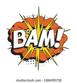 word 'BAM!' in retro comic speech bubble with halftone dotted shadow on white background. vector vintage pop art illustration easy to edit and customize. eps 10