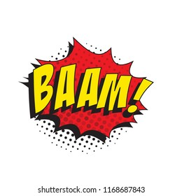 word bang in retro comic speech bubble with halftone dotted shadow