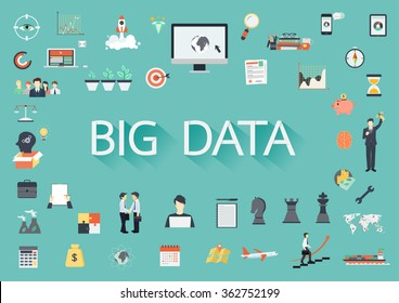 The word BIG DATA surrounding by concerning flat icons