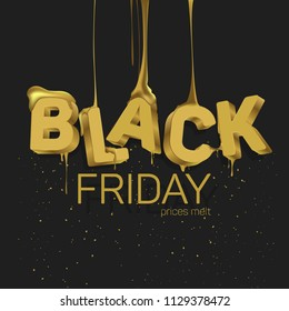 """The word """"Black friday"""" in the style of 3D gold color with flowing Golden liquid similar to honey."""