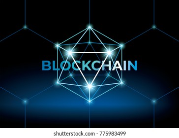 Word blockchain with low polygonal sphere. 3D hexahedron with glow. Futuristic style vector illustration