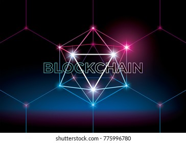 Word blockchain with low polygonal sphere. 3D hexahedron with glow. Futuristic style vector illustration.