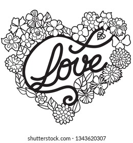 Word 'Love' in blossom wreath. Laser or paper cut template design.