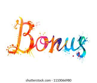 Word Bonus. Hand written vector doodle font inscription of splash paint letters