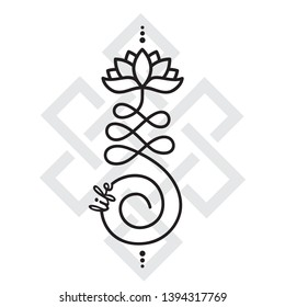 Word and Buddhist symbols for life, vector