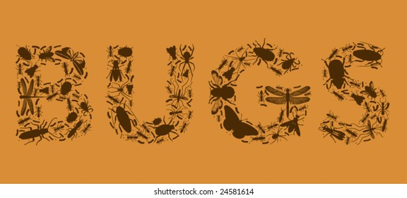 """The word """"BUGS"""" composed entirely of vector bugs and larva"""