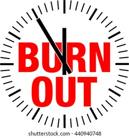 "The word ""burnout"" in the middle of o clock, showing five to twelve"