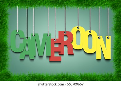 The word Cameroon hang on the ropes  in frame of grass. Vector illustration