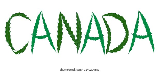 word CANADA. letter of weed. vector.