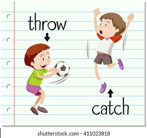 Word card throw and catch illustration