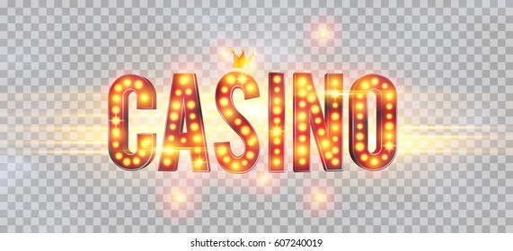 The word Casino, on a transparent background. The new, best design of the luck banner, for gambling, casino, poker, slot, roulette or bone.
