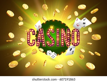 The word Casino, surrounded by a luminous frame and attributes of gambling, on a explosion background. The new, best design of the luck banner, for gambling, casino, poker, slot, roulette or bone.