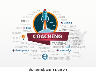 The word cloud Coaching concept on background with rocket. Project for web banner and printed materials.