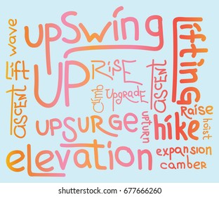 UP word cloud collage, background concept. word set