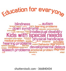 Word cloud (collage). Children with special needs education. Book shape, colorful words, white background. Illustration for web or typography (magazine, brochure, flyer, poster), EPS 10.
