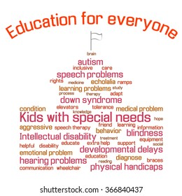 Word cloud (collage). Children with special needs education. School shape, colorful words, white background. Illustration for web or typography (magazine, brochure, flyer, poster).