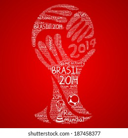 Word cloud concept of Brasil 2014 football championship in vector on red background
