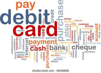 Word cloud concept illustration of debit card