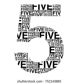 Word cloud concept. Number of five