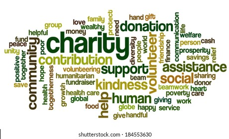Word cloud containing words related to charity, assistance, health care, kindness, human features, positivity, volunteering, donations, help and similar