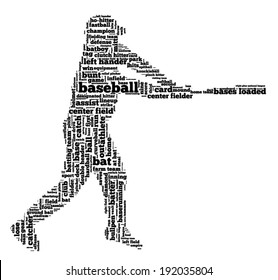 Word cloud containing words related to baseball in shape of baseball player, black letters on white background